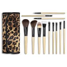 15 99 docolor tm 12pieces wooden handle professional makeup brush set with leopard cosmetics case amazon