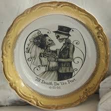 and groom plates skeleton skull wedding groom on gold or silver