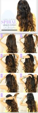 diy hairstyles in 5 minutes 5 minute spiral half updo daily hairstyles for long hair tutorial