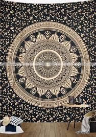 black gold ombre mandala tapestry wall hanging home decor