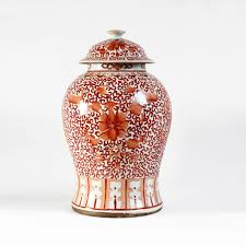 orange and white floral pattern ginger jar asian chinese home