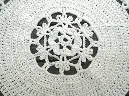 Crochet Flower Rug Hand Crafted Cotton Crochet Rug In 34