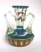 Dolphin Vase Bavarian Jugendstil Glass Loetz And Glass