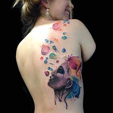 watercolor back piece by dia moeller at the boston tattoo company