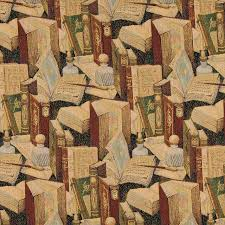 Tapestry Fabrics Upholstery Classic Books Writing Utensils Themed Tapestry Upholstery Fabric