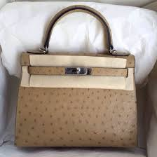 apricot color ostrich leather hermes kelly bag 28cm sellier