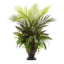 silk peacock home decor nearly natural mixed areca palm fern and peacock silk plant ebay