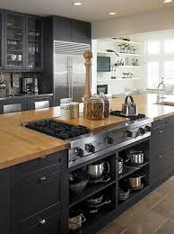 black kitchen island with butcher block top 53 stylish black kitchen designs butcher blocks island stove and