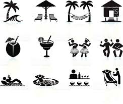 margarita clip art tropical island vacation black and white icon set stock vector art