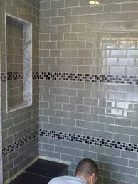 astounding bathroom design using glass tile shower wall panels