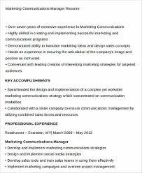 Marketing Communications Manager Resume The Best Way To Provide The Best Marketing Resume