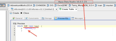 how to create temp table in sql 14672 incorrect sql for temporary tables in informix 12 1 aqua