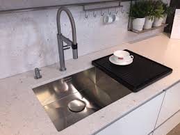 ALNO Kitchen Including A Blanco CulinaS Mini Tap In Brushed Steel - Brushed steel kitchen sinks