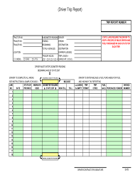 fuel report template driver trip report template free
