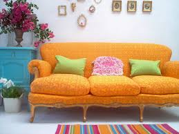 living room yellow orange moroccan pattern sofa with colorful
