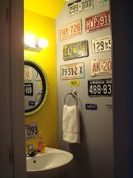 man cave bathroom ideas first home powder room entering with view of license plate wall