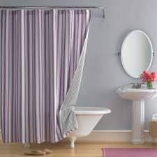 Removable Shower Curtain Rod by Beautiful Shower Curtain With Purple Vertical Strip Patterns