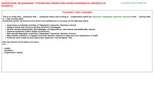 supervisor telegraphic typewriter operators work experience