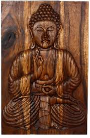 wall decor buddha carved wood panel serene ushnisha thai decor