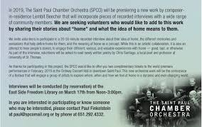 what side does a st go on what does home mean to you the st paul chamber orchestra wants