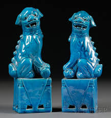 turquoise foo dogs for sale pair of turquoise foo dogs sale number 2512 lot number 1618