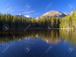Longs Nymph Lake And Longs Peak Rocky Mountain National Park Stock