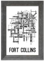 Fort Collins Colorado Map by Fort Collins Colorado Street Map Print Street Posters