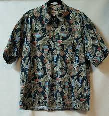 martini tropical black tropical hawaiian shirt beer bottles martinis size xl chest