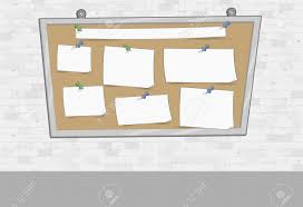 Big White Boards White Brick Wall With Papers On A Big Board Push Pins And Paper