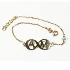 initials bracelet gold infiniti a m initials bracelet with evil eye charm on chain
