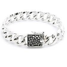 mens silver solid bracelet images Kham 925 sterling silver solid cuban curb link chain bracelet for jpg