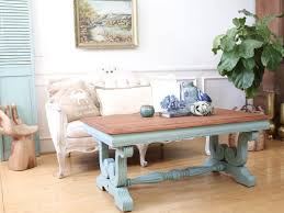 shabby chic vintage beach house solid wood coffee table in teal