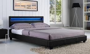 Led Bed Frame Italian Design New Prada Led Size Black Pu Leather Wooden