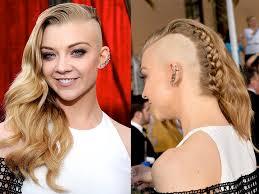 braids with half shaved head celebrity hair how to natalie dormer s sag awards punk braid