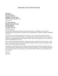 Sample Resume Bartender by Cover Letter Bartender Cover Letter Bartender Cover Letter And