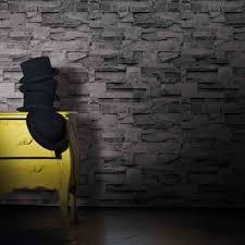 Pierre De Parement Grise by Galerie Slate Effect Scrubbable Wallpaper J27409 By Bluff