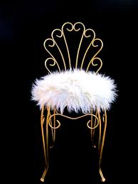 Vanity Chair Stool Vintage Hollywood Regency Gold Metal U0026 Faux Fur Vanity Stool By