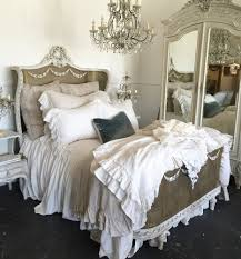 our antique french cane bed with our custom linens displayed in
