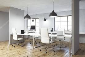 coworking office interior with wooden floor concrete walls