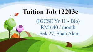 Bio Rm tuition 12203c igcse yr 11 bio rm 640 month sek 27 shah