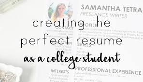 Perfect College Resume Samanthability College Resume Experience And Design Tips
