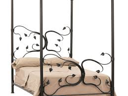 Wrought Iron Canopy Bed Bed Frame Bedroom Black Wrought Iron Canopy Bed With Leaves