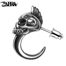 mens earings zabra 925 sterling silver skull stud mens earrings vintage retro