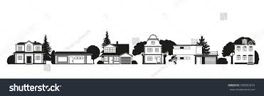 silhouettes houses different architectural styles on stock vector