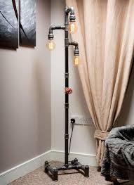 steampunk pipe floor lamp industrial style modern handmade in uk