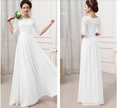 white confirmation dresses 2015 women half sleeve lace hollow out wedding party dress