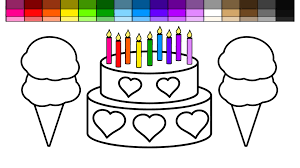 learn colors for kids with this ice cream and heart birthday cake