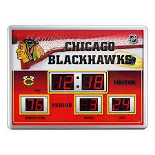 Hockey Scoreboard Light Fixture Chicago Blackhawks Time Date Temp Scoreboard