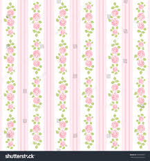 Shabby Chic Style Wallpaper by Retro Wallpaper Roses On Striped Background Stock Vector 209209999