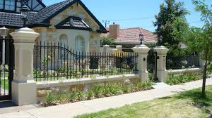 outdoor and patio black iron home fence designs andwhite concrete